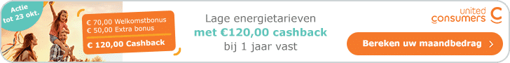 Tijdelijk €120,00 Korting bij UnitedConsumers