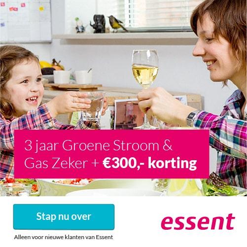 €275,00 Korting bij Essent 3 Jaar Groene Stroom & Gas Zeker