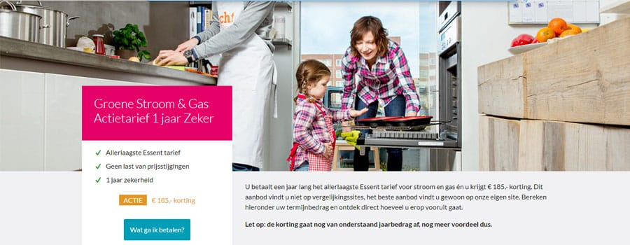 Ontvang €185,00 Korting bij Essent 1 Jaar Prijs Zeker