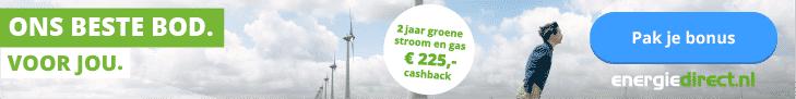 Tijdelijk €225,00 Cashback bij Energiedirect.nl