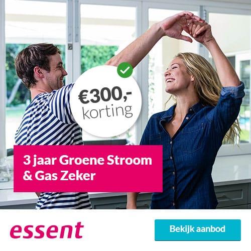 €250,00 Korting bij Essent 3 Jaar Groene Stroom & Gas Zeker