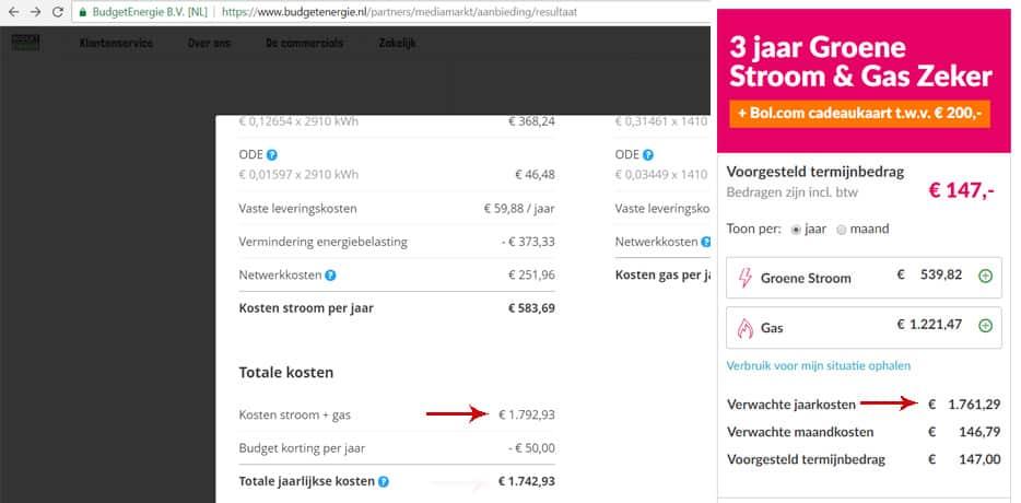 Budget Energie Mediamarkt Aanbieding vs Essent Bol.com Actie