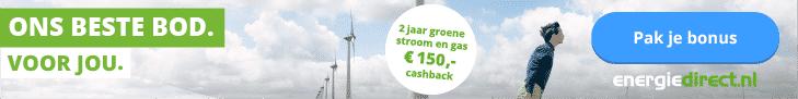 Tijdelijk €150,00 Cashback bij Energiedirect.nl