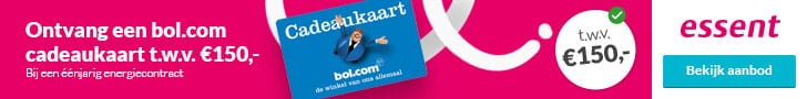 Gratis Bol.com Cadeaukaart bij Essent (€150,00)