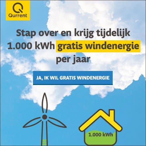 Jaarlijks 1.000 kWh Gratis windenergie bij Qurrent