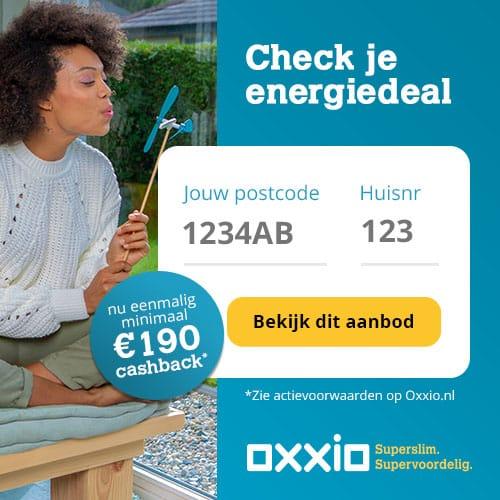 Minimaal €190,00 Cashback Oxxio 1 Jaar Vast
