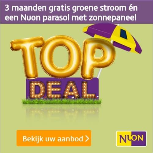 Nuon Groene Topdeal - Gratis Stroom + Gratis Parasol met Zonnepaneel