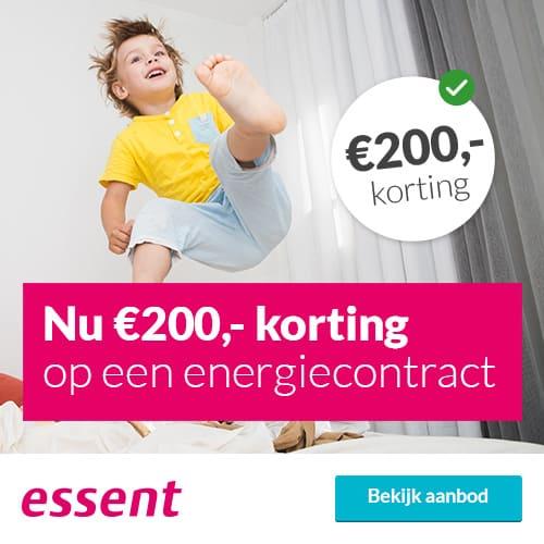 Ontvang €200,00 Korting bij Essent 1 Jaar Prijs Zeker