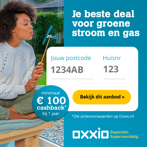 Minimaal €100,00 Cashback Oxxio 1 Jaar Vast