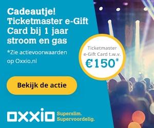 Gratis Ticketmaster Cadeaubon bij goedkope energie van Oxxio
