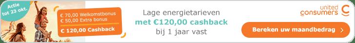 Tijdelijk €120,00 Korting bij UnitedConsumers 1 Jaar Vast