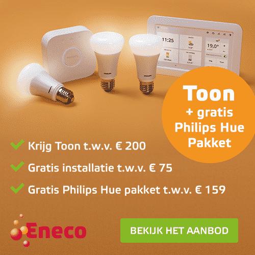 Toon met installatie + Philips Hue Pakket Cadeau bij Eneco