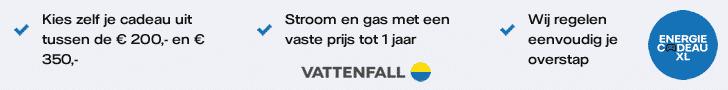 Vattenfall Energiecadeau; Kies uw eigen cadeau ter waarde van €149,95