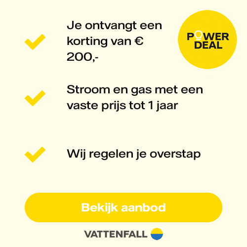 Vattenfall aanbieding €200,00 korting met de Powerdeal!